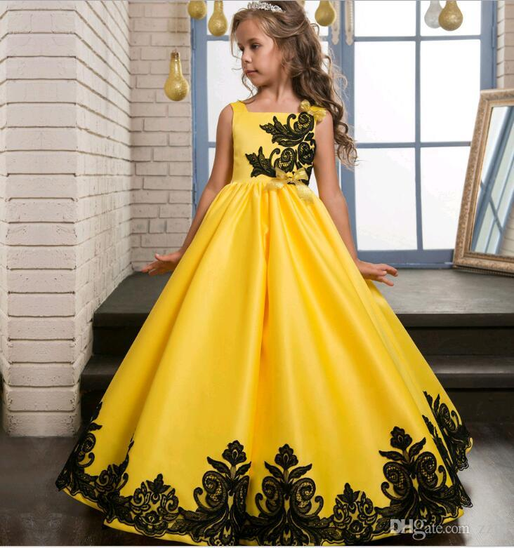 2019 Embroidery Black Lace Prom Dresses For Kids A Line Yellow Satin