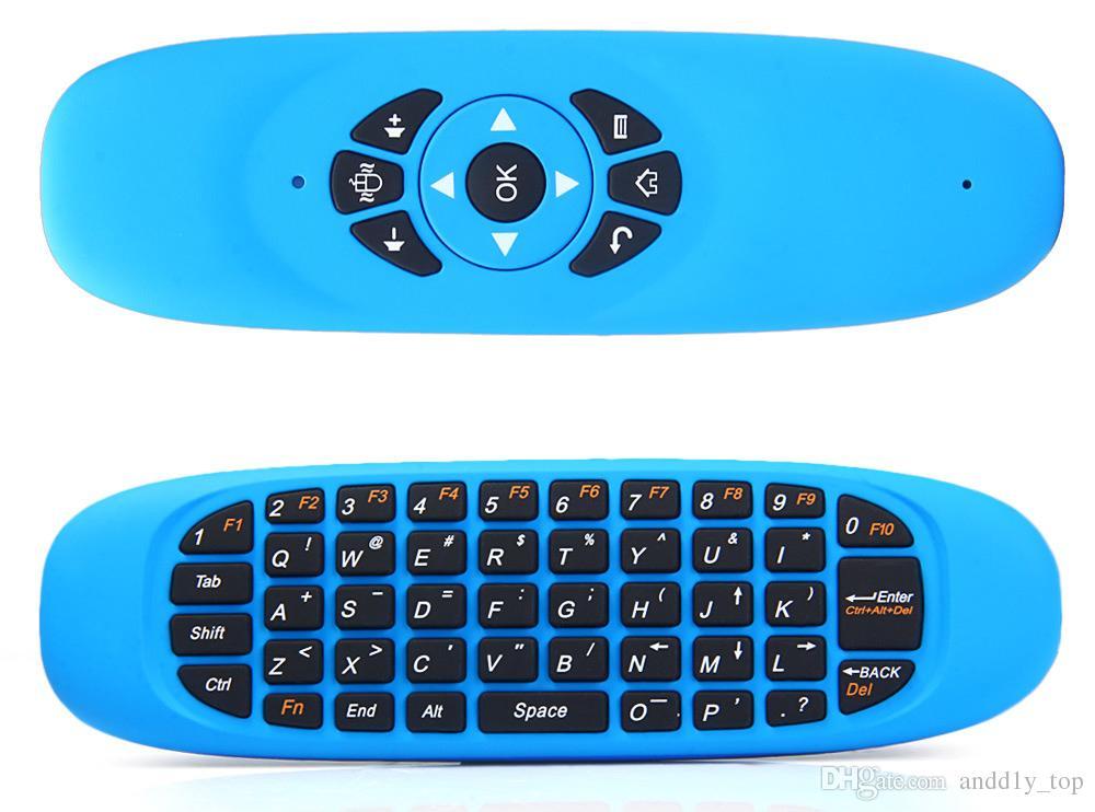 Giroscópio Fly Air Mouse C120 Teclado Do Jogo Sem Fio Controle Remoto Android 2.4Ghz Recarregável Teclado para Smart Box TV Mini PC