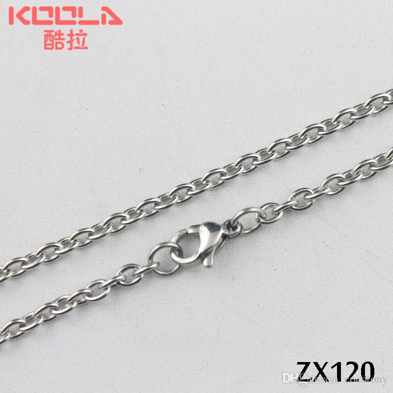 Kunafir 20 stks partij 360-810mm roestvrij staal 3mm O-vormige open / elliptische ring ketting sieraden ketting kettingen ZX120