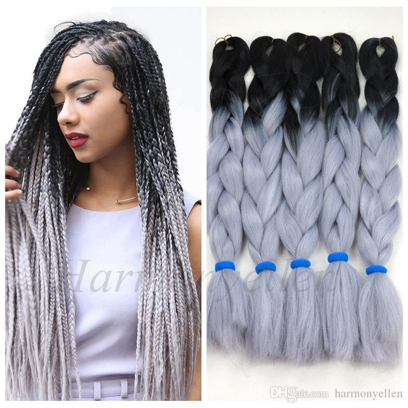 Großhandel Lager Zweifarbig Synthetische Yaki Flechten Haare 2 Ton