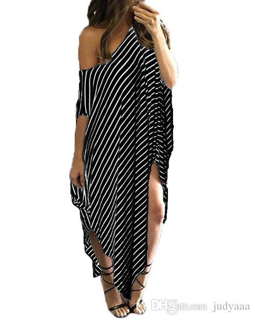 fc7d2543656 2016 Women Clothing Summer Dress Long Maxi Loose Dress Striped Batwing Sleeve  Off Shoulder Split Casual Beach Wear Plus Size Vestidos Casual Purple  Dresses ...