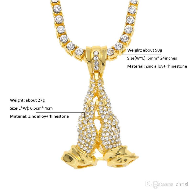 Men's Hip-Hop Diamond Hands Pendant High-quality Pursuit Hand Paint Chain Set Rapper DJ Cool Night Shop Single Item Fashion Accessories