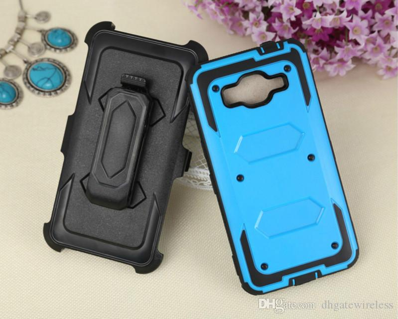 For Samsung Galaxy J3 prime Rotating Ring Hybrid Armor Stand Case Rugged Defender Cover With Screen and Belt Clip Holster