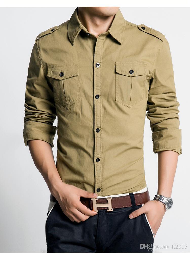8c5940a81ab Style Men Dress Shirt Slim Fit 100% Cotton Man Shirts High Quality Long  Sleeve Shirt 3XL Spring 2016 New Khaki Green Canada 2019 From Tt2015