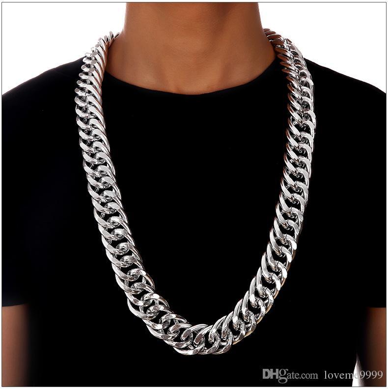 Преувеличено 18k золото посеребренного Hip Hop Punk кубинских цепная T- Показать ожерелье ВЫСОКОГО УРОВЕНЬ мужской хип-хоп Змея простой цепи ожерелье 2.6cm 90см