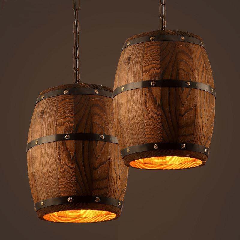 Perfect American Country Loft Wood Wine Barrel Hanging Fixture Ceiling  NR57