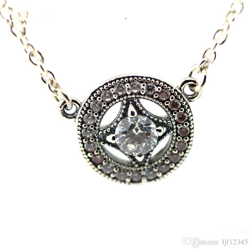 Vintage Allure Necklaces Pendant With CZ sterling-Silver-jewelry Woman New Charm Wholesale Jewelry Necklace Summer New 50cm Chain Jewelry