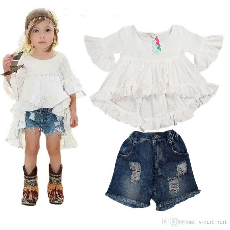 dc5ef2a167a2 2019 2016 New Sweet Kids Girls Ruffles Tops And Denim Shorts Outfits Sets  Fall Summer Cute Children Clothing From Smartmart, $73.52 | DHgate.Com