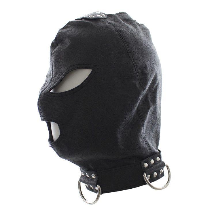 Kinky Fetish Sex Bondage Discipline Hood PU Leather Eyes & Mouth Open Bondage Restraint Gimp Mask With Rope Fastens