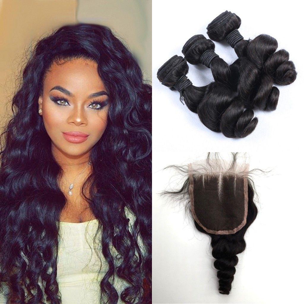Indian Wavy Human Hair Weaves Closure Natural Black Unprocessed