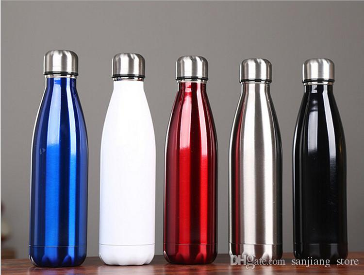 Cola Shaped Water Bottle Light Color 500ml 350ml Stainless Steel Insulated Double Wall Vacuum Coke Bowling Thermos Mugs Hot Reusable Glass