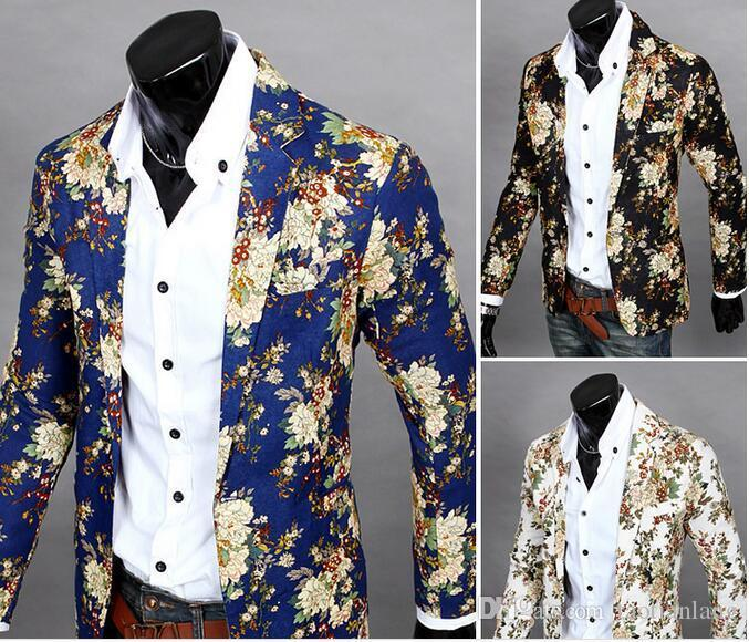 2d3e74292cc 2019 Flower Colorful Style Men Casual Blazer Suit Long Sleeve Thin Party Men  Suit Blazers Slim Single Breasted Blazer For Men J160406 From Taotianlang