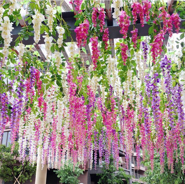 White Green Artificial Flowers Simulation Wisteria Vine Wedding Decorations Long Silk Plant Bouquet Door Room Office Garden
