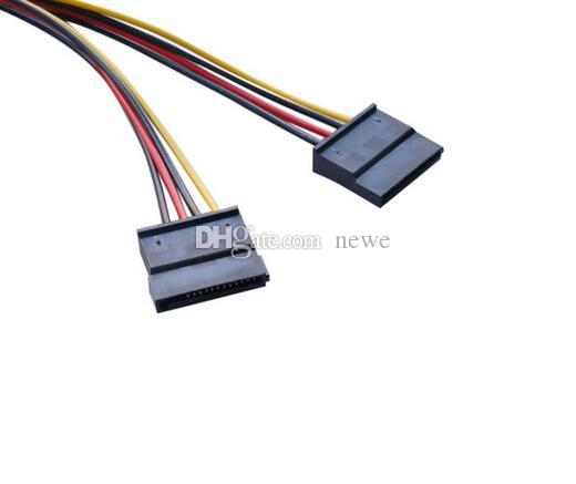 New Arrive Serial ATA SATA 4 Pin IDE Molex to 2 of 15 Pin HDD Power Adapter Cable Hot Worldwide