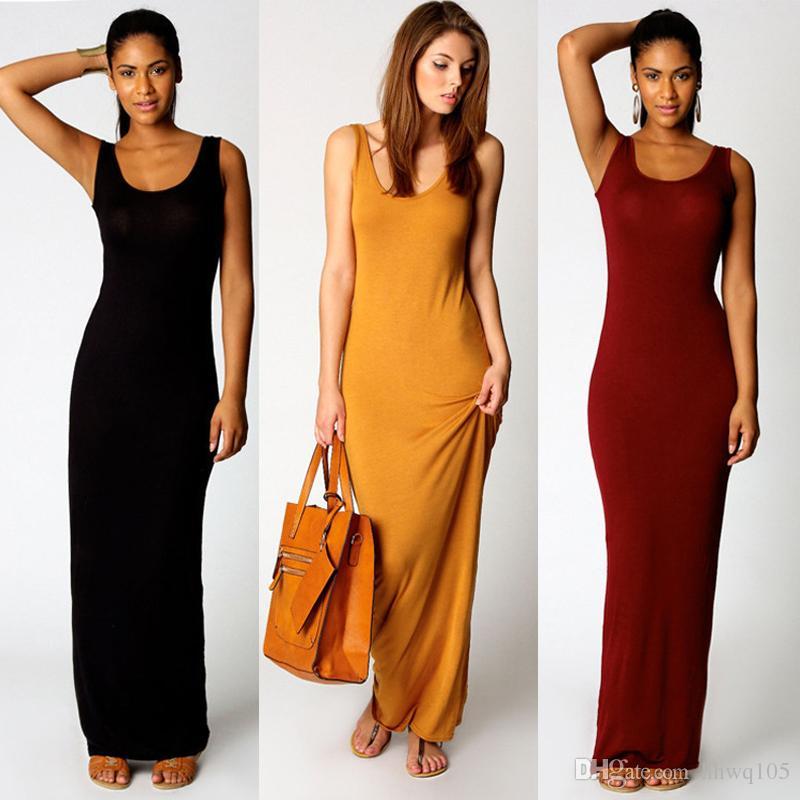 736d3ce9399 Compre Mulheres Vestido Casual De Verão Longo Vestido De Túnica Sem Mangas  Em Forma De U Vestido De Cor Sólida Maxi Beach Sundress Jersey Vestidos  DZF0305 ...