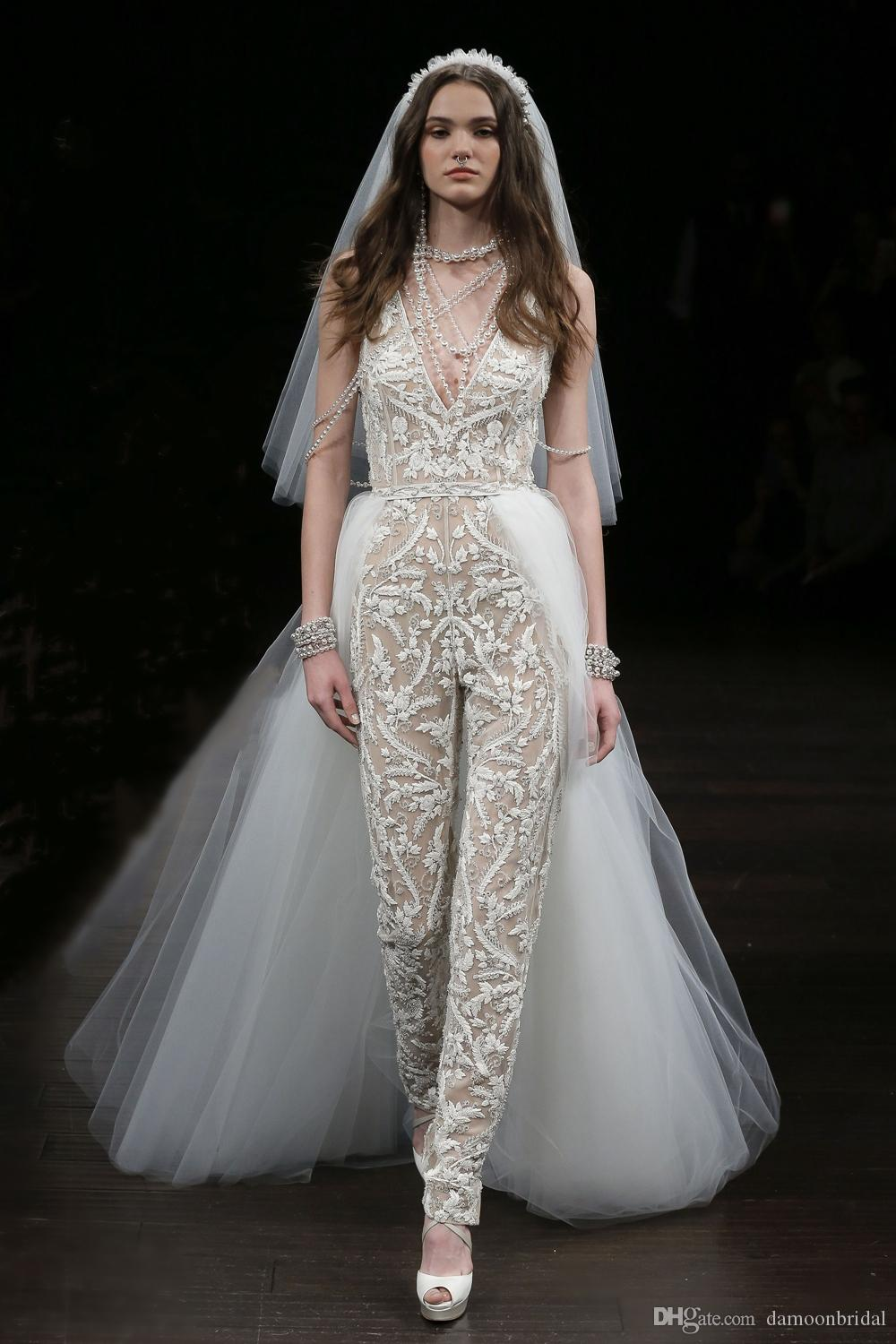 Discount 2017 new arrival jumpsuit wedding dresses with for Wedding dress bodysuit and skirt