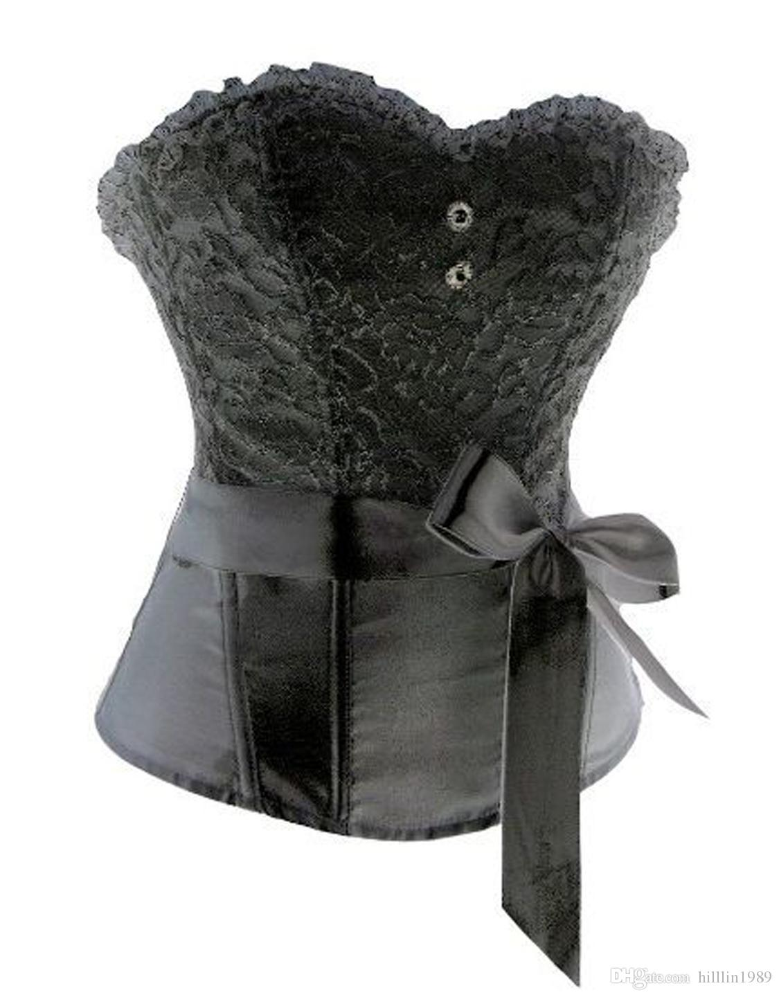 Where to Buy Sexy Boned Overlay Floral Lace Corset Prom Bustiers Women Lace-up Shapewear with Bow Royal Court Corselet