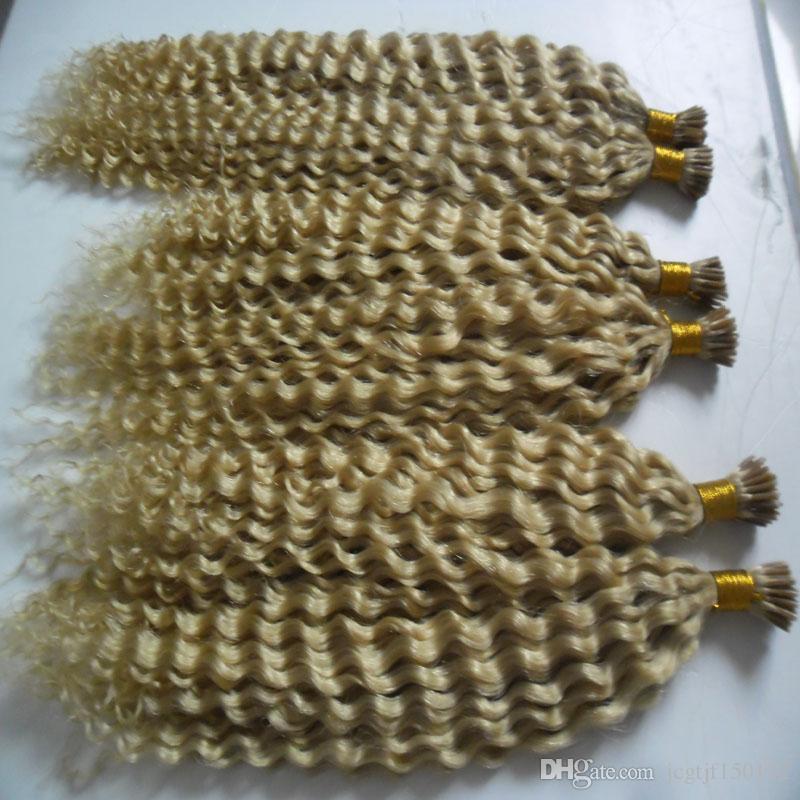 100g / 3 개 번들 레미 헤어 확장 각질 I 팁 헤어 확장 금발 브라질 변태 곱슬 인간의 머리 확장 케라틴 가닥