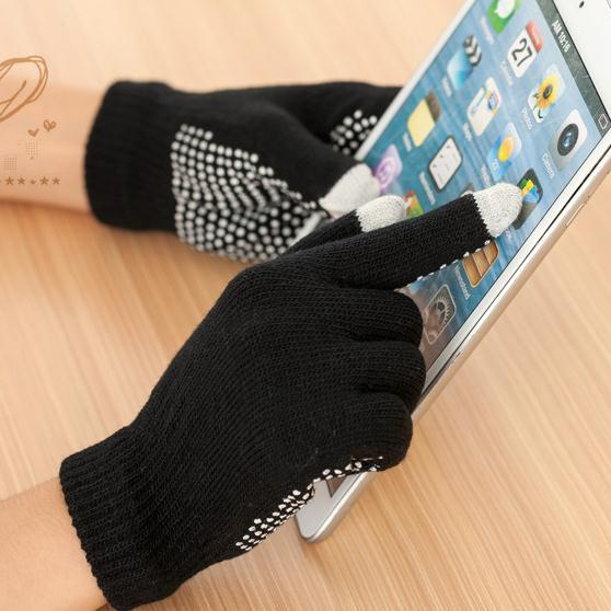 d49af5f1c Wholesale- Men and women's black knitted slip-resistant gloves female black glue  touch screen gloves