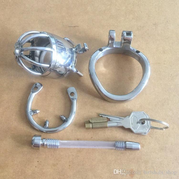 New duração de design 70 milímetros Dispositivo de aço inoxidável Super pequeno Male Chastity com cateter e anti-off versão 2.75