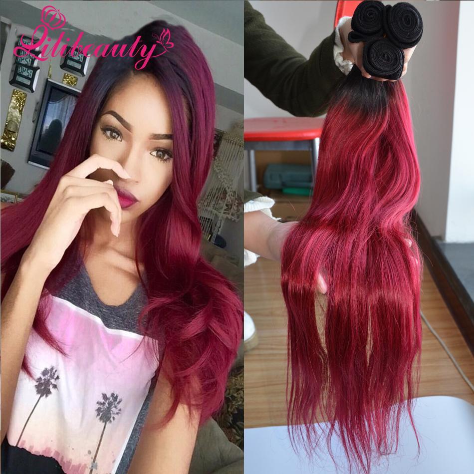 Burgundy brazilian hair 3 bundles top ombre brazilian hair straight burgundy ombre hair queen - Ombre hair marron ...