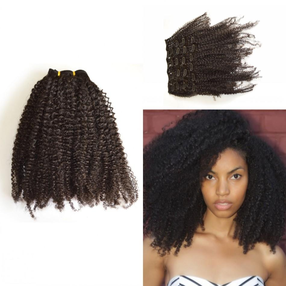 African American Clip In Hair Extension Indian Virgin Kinky Curly