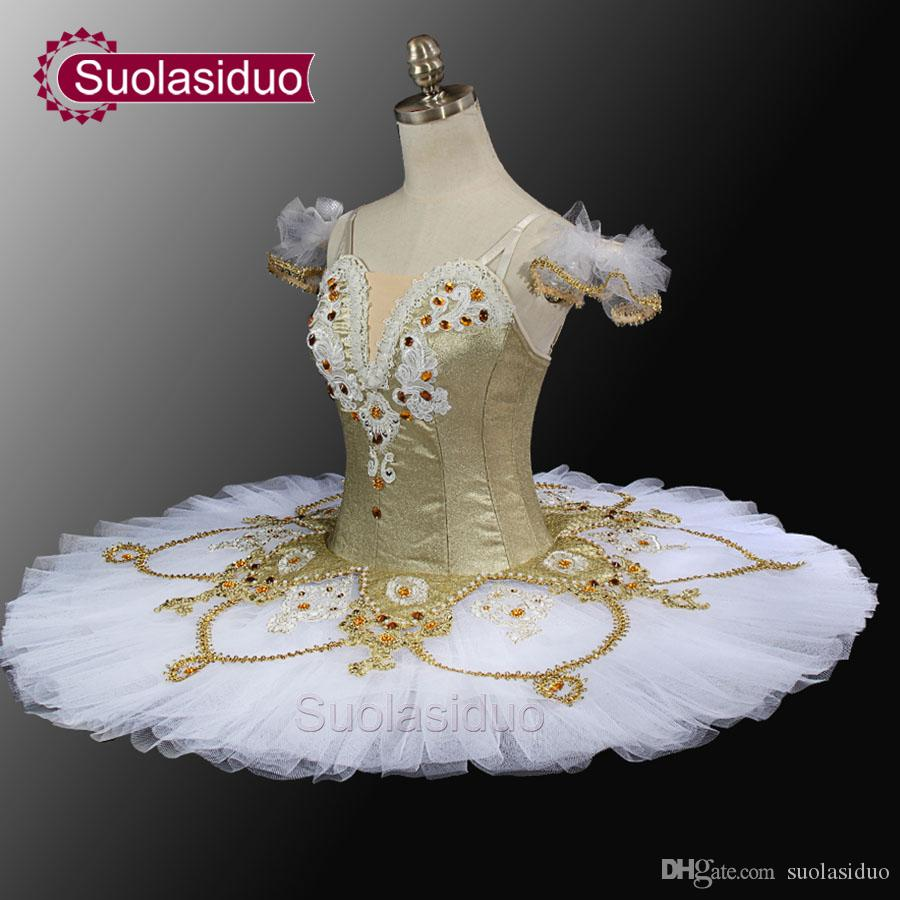 White Gold Ballet Tutu Professional Tutu Pancake Classical Ballet Tutu Stage Costumes Hot Sale SD0024