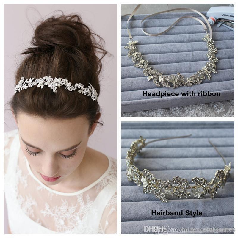 Silver Hairband Tiaras Bridal Hair Accessories Wedding Headpiece With Ribbon  Hairband Two Style No Fading Wholesale Wedding Head Piece New Floral Hair  ... e631d50ad9a
