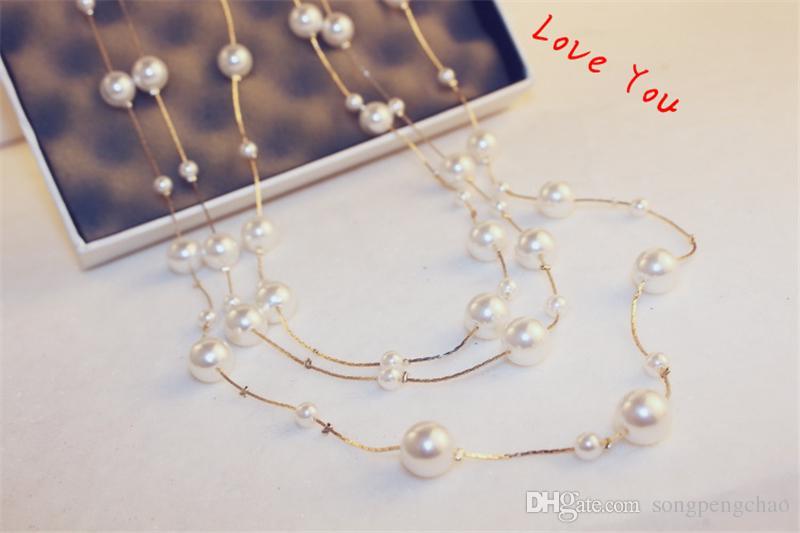 Mehrschichtige Perlenkette koreanische Marke Designer Lange Neckalce für Frauen Pullover Schmuck