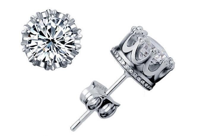 Quente! 925 sterling silver crown zircon earrings coréia europa para as mulheres de jóias de casamento preço de fábrica elegante não se desvanece caixa de presente