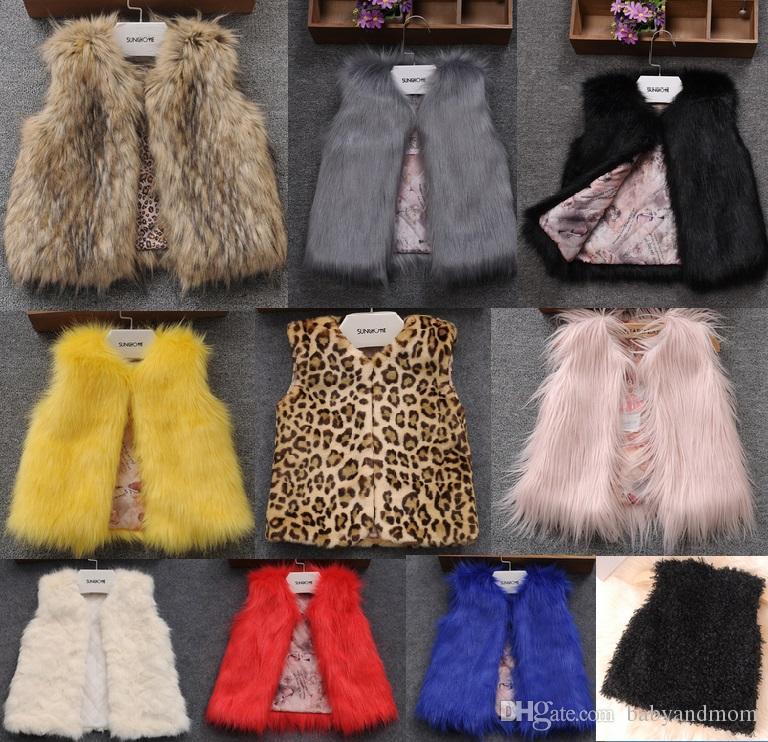 f830b11a6 2016 Baby Girls Faux Fur Warm Vests Kids Girl Fall Winter Fashion ...