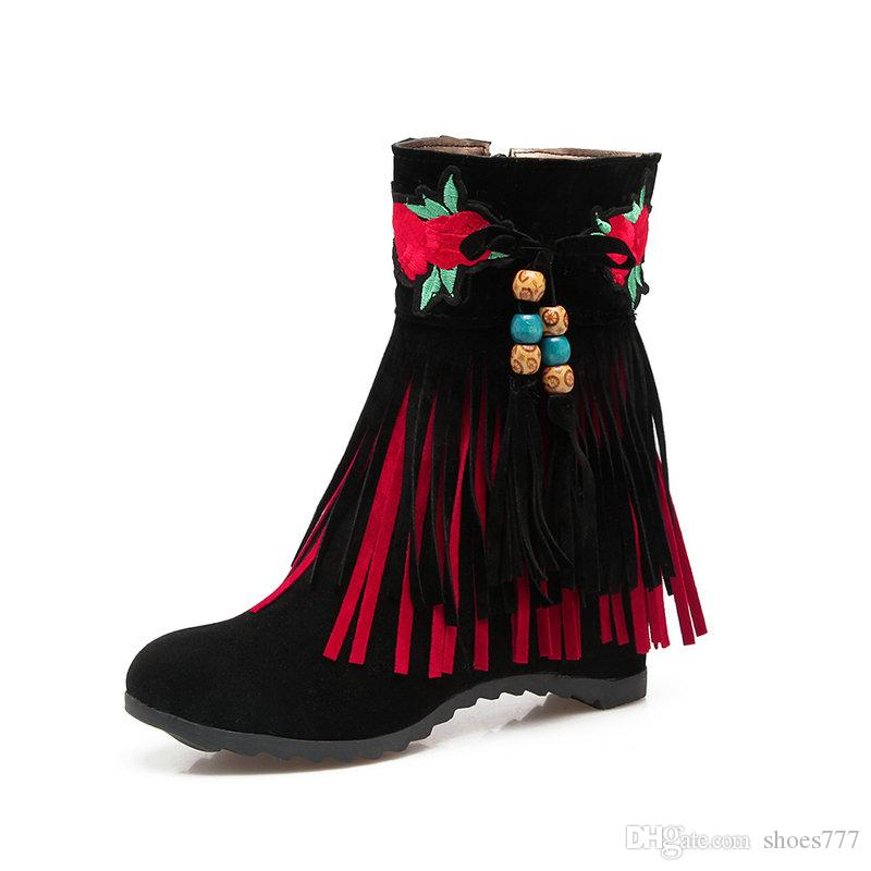 ... super cheap af5a5 38d38 2018 Fashion Womens Vintage Embroidery Fringe  Boots 45f67ac2be