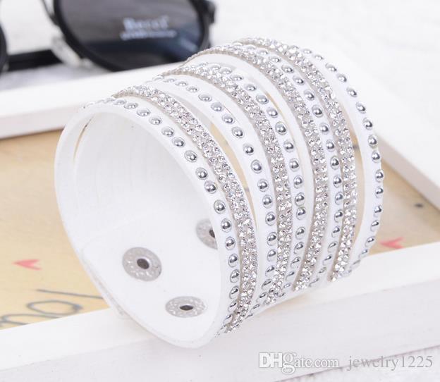 2021 أعلى متعدد الطبقات التفاف أساور جلدية للنساء مع بلورات زوجين مجوهرات سحر