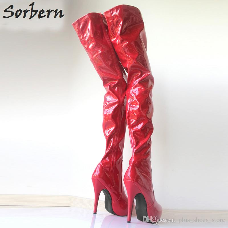 Sorbern 15Cm High Heel Boots Women Sexy Crotch High Boots Platform Round Toe Thin High Shoes Over The Knee Boots Custom Any Colors