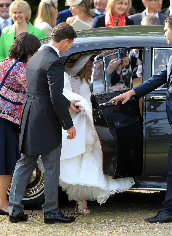 Бесплатная доставка потрясающие гери холливэлл лучшие свадебные платья знаменитостей высокое качество кружева вечерние свадебные платья