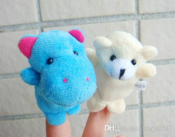 New 7cm Baby Plush Toy Finger Puppets Talking Props 10 animal group Stuffed animals wholesale
