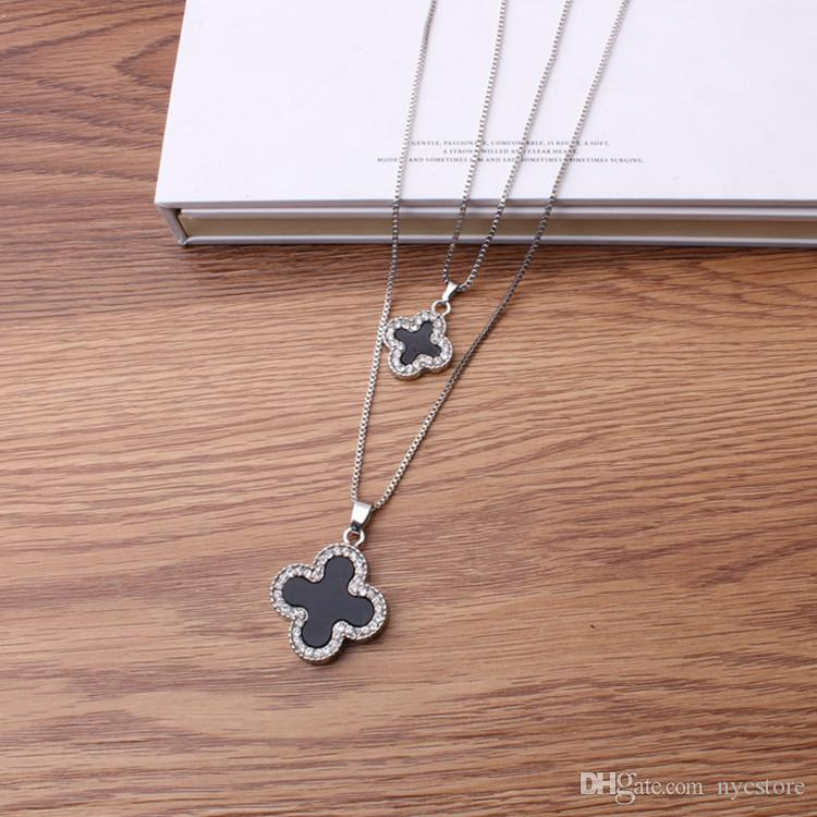 fashion sweater long chain necklace Clover crystal chain pendant sweater Korean jewelry pendant ladies ornaments