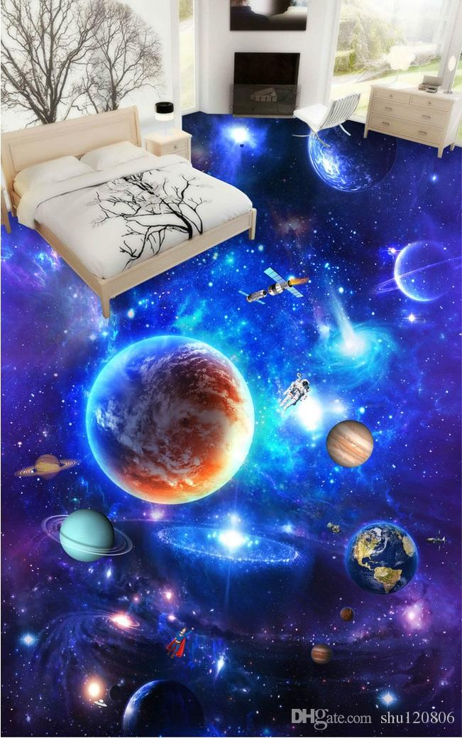 3d pvc flooring custom photo Waterproof Self-adhesive floor wall sticker Galactic cosmic sky 3d wall murals wallpaper room decor painting