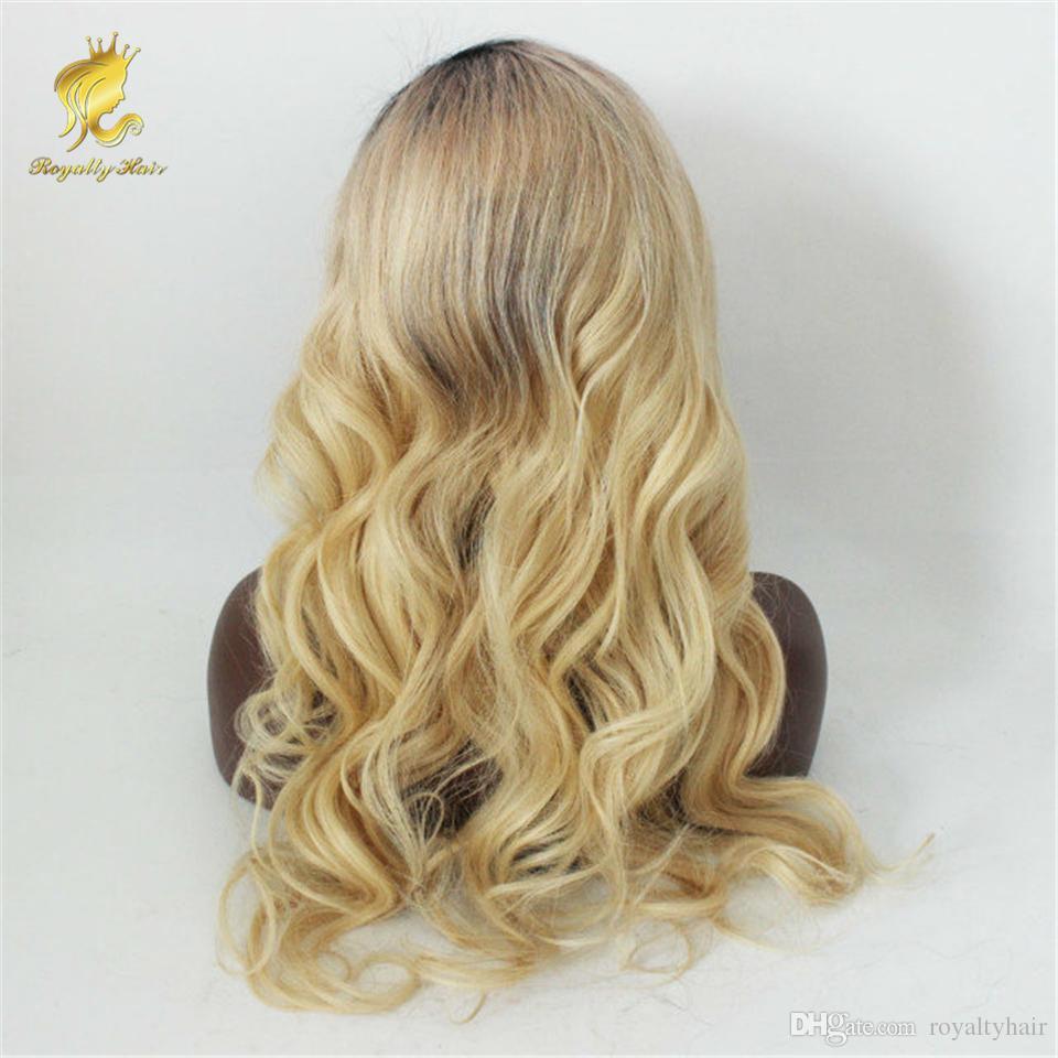 OMBRE T1B 613 Rubia Encaje completo Pelucas para el cabello humano ondulado Brasileño Virginal Pelo 130% Densidad Pelízorregia blanqueada de cabello natural Pelucas frontales de encaje