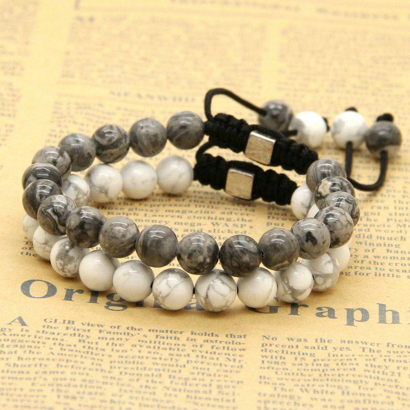 Venta al por mayor / 8mm Natural Black Onyx, White Howlite Marble Grey Jasper Stone Beads Macrame Lucky Bracelets