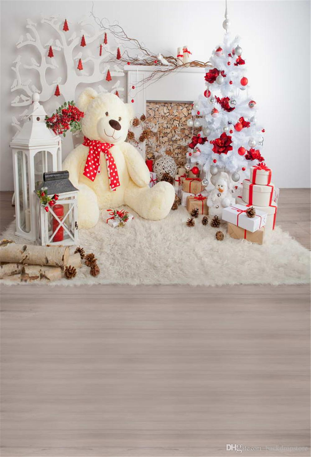 2018 xmas photography backdrop white christmas tree with silver red balls flowers big toy bear children kids photo studio background wood floor from