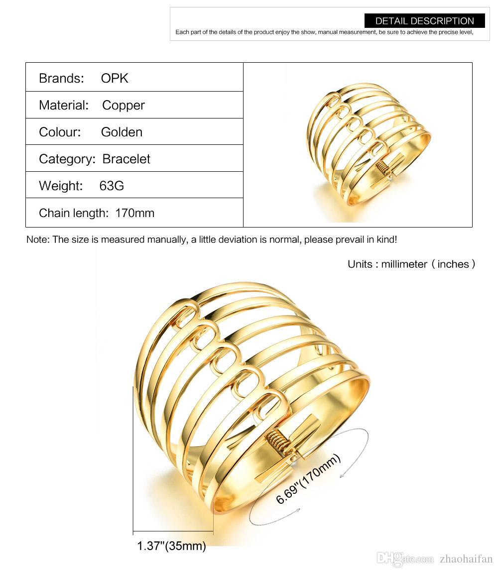 Esagerato 18 k placcato oro donna braccialetti vintage stile UE grande superficie 35 mm larghezza donne gioielli di personalità KKH490