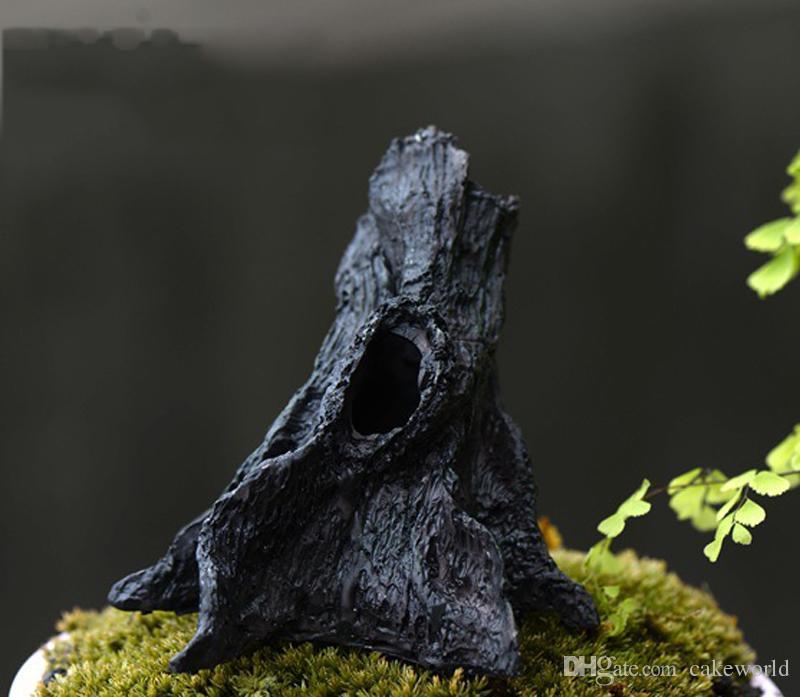 1 pz Hollow ceppi figurine la decorazione domestica fairy garden miniature mini gnomi moss terrari decorazioni in resina artigianato