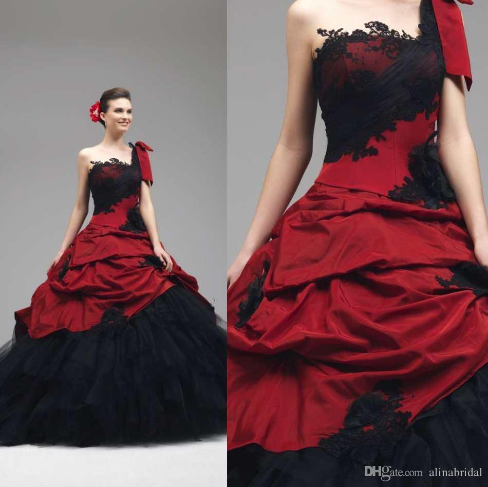 2018 Gothic Rot und Schwarz Brautkleider Ballkleid Eine Schulter Stil Zurück Korsett Cascading Rüschen Brautkleider Vintage Brautkleid