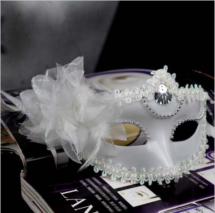 ヴェネチアンの不思議なマスカレードマスク純粋な色の静かなマスクマルディグラスマスクの花アイマスクアクセサリー(ブラックホワイト)