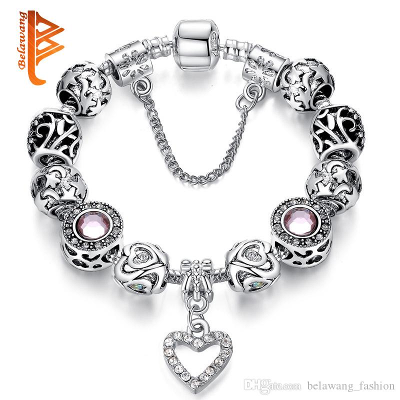 10f8d8be2 ... Heart Pendant Beads Bracelets&Bangles With Crystal Charm Beads For Women  DIY Jewelry With Safe Chain Vintage Charm Bracelets James Avery Charm  Bracelet ...