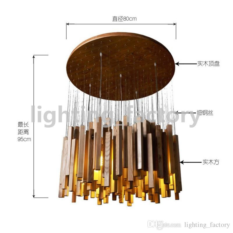 Hot Selling LED Wood Pendant Lamp 220V Creative Meteor Rain Ceiling Light Meteoric Shower Stair Light D60/80/100cm