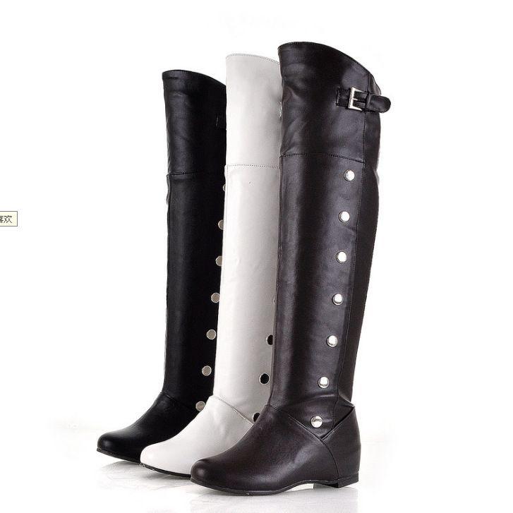 Stivali da donna autunno-inverno Stivali alti fino al ginocchio su scarpe con tacco basso stivali larghi e con fibbie Large Size 43. XZ-068