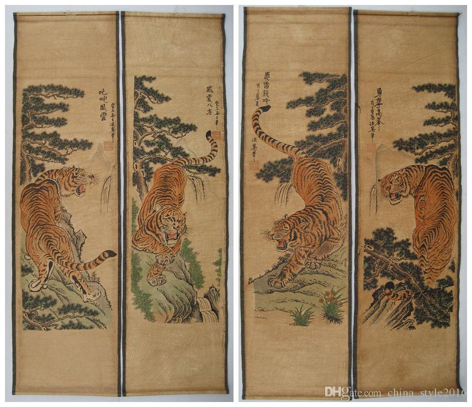 Antique Chinese Scrolls: 2019 Old Chinese Painting Scroll Tiger Jiang Tingxi 4