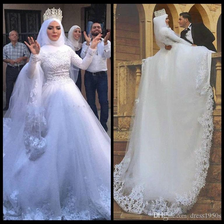 Muslim Wedding Gown Pictures: Discount 2018 Muslim Wedding Dresses Modest High Neck Full